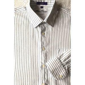 Alan Flusser Men's White Stripe Button Down XL